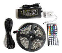 led strip light 5050 rgb set waterproof ip65 5m 300led with remote controller 12v 5a power supply adapter color change led tape