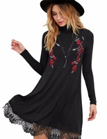 Blooming Jelly Autumn Winter Vintage Floral Embroidery Dress Tunic Dress Long Sleeve Lace Patchwork Casual Dress