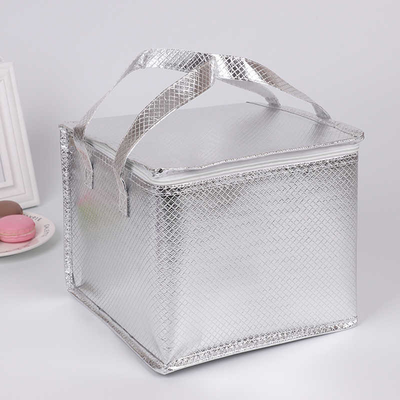 portable silver cooler bag cake pizza warm cold carrier insulated handbag thermal lunch picnic box thermal meal drinks cool bag