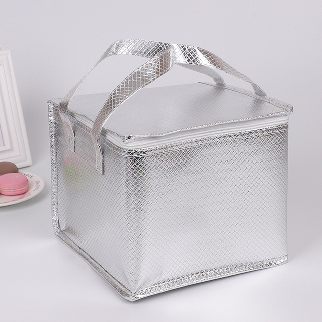 portable silver cooler bag cake pizza warm cold carrier insulated handbag  thermal lunch picnic box thermal meal drinks cool bag 36e906babc00