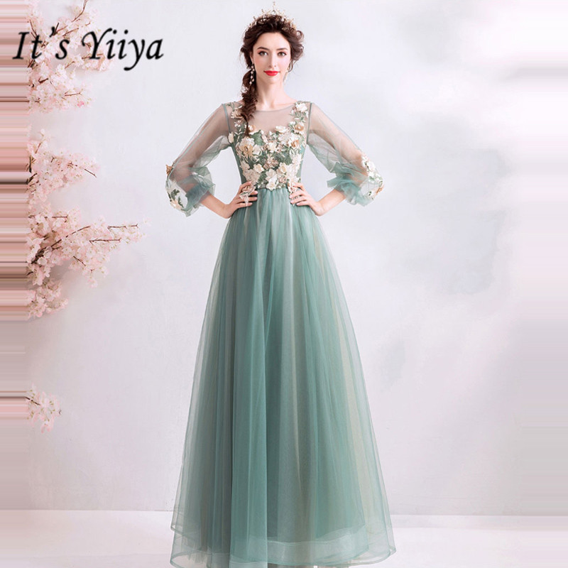 It's YiiYa   Prom   Gowns Green O-neck Full Sleeves A-Line Floor Length Long Party   Dress   Custom Plus Size   Prom     Dresses   2019 E243