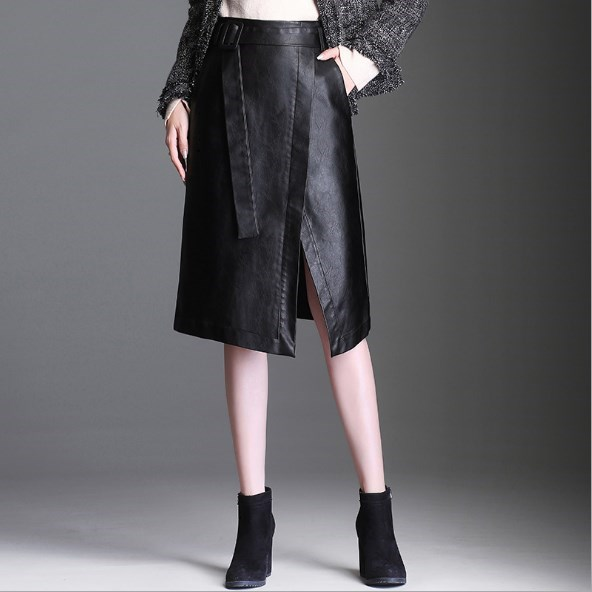 e3040a7454cc 2019 Pu Leather Skirts High Waist Plus Size Womens Faux Leather Skirt Black Knee  Length Skirt Business Suit Jupe Femme with Belt
