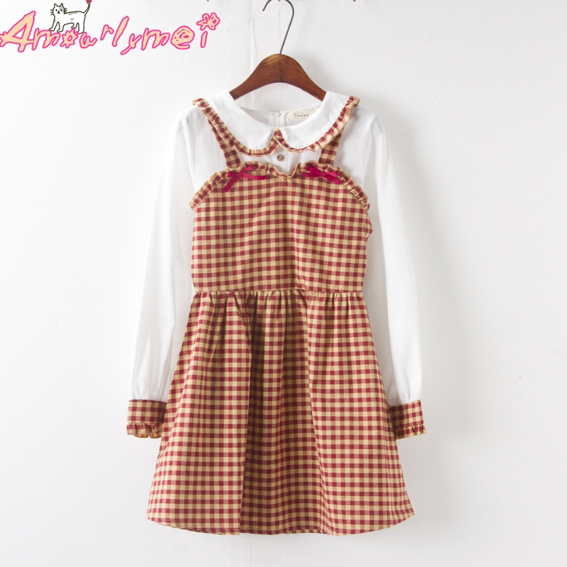 Japanese Style Mori Girl Sweet Loose Peter Pan Collar Bow Ruffles Patchwork Long Sleeve Plaid Dress 2019 Autumn Women Dress