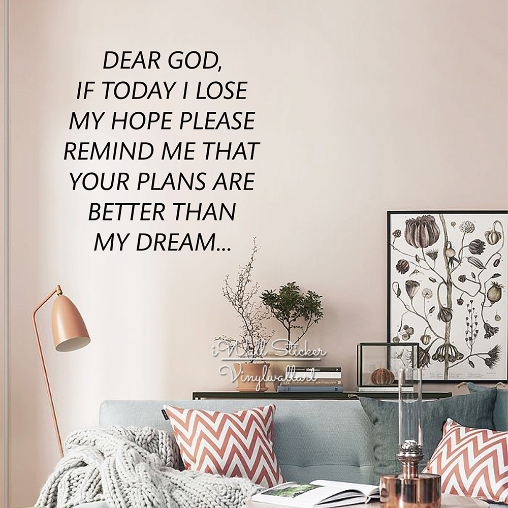 Hope Quotes Dear God Wall Sticker Hope Inspirational Quote Wall Decal
