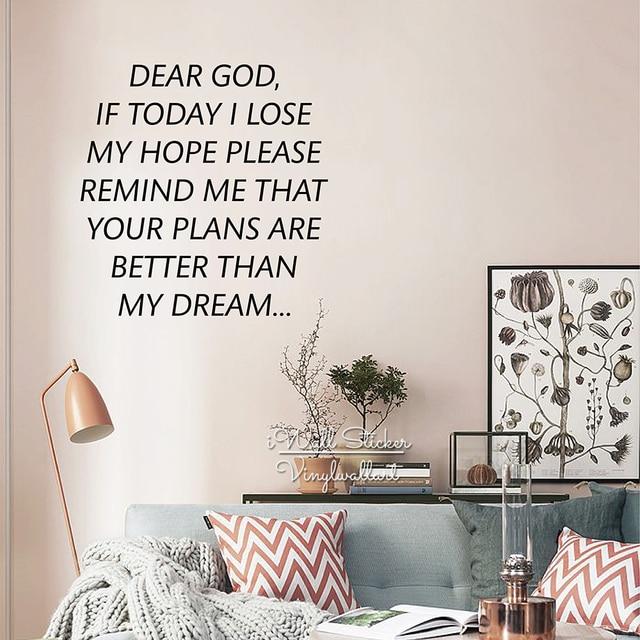 Dear God Wall Sticker Hope Inspirational Quote Wall Decal - Wall decals motivational quotes