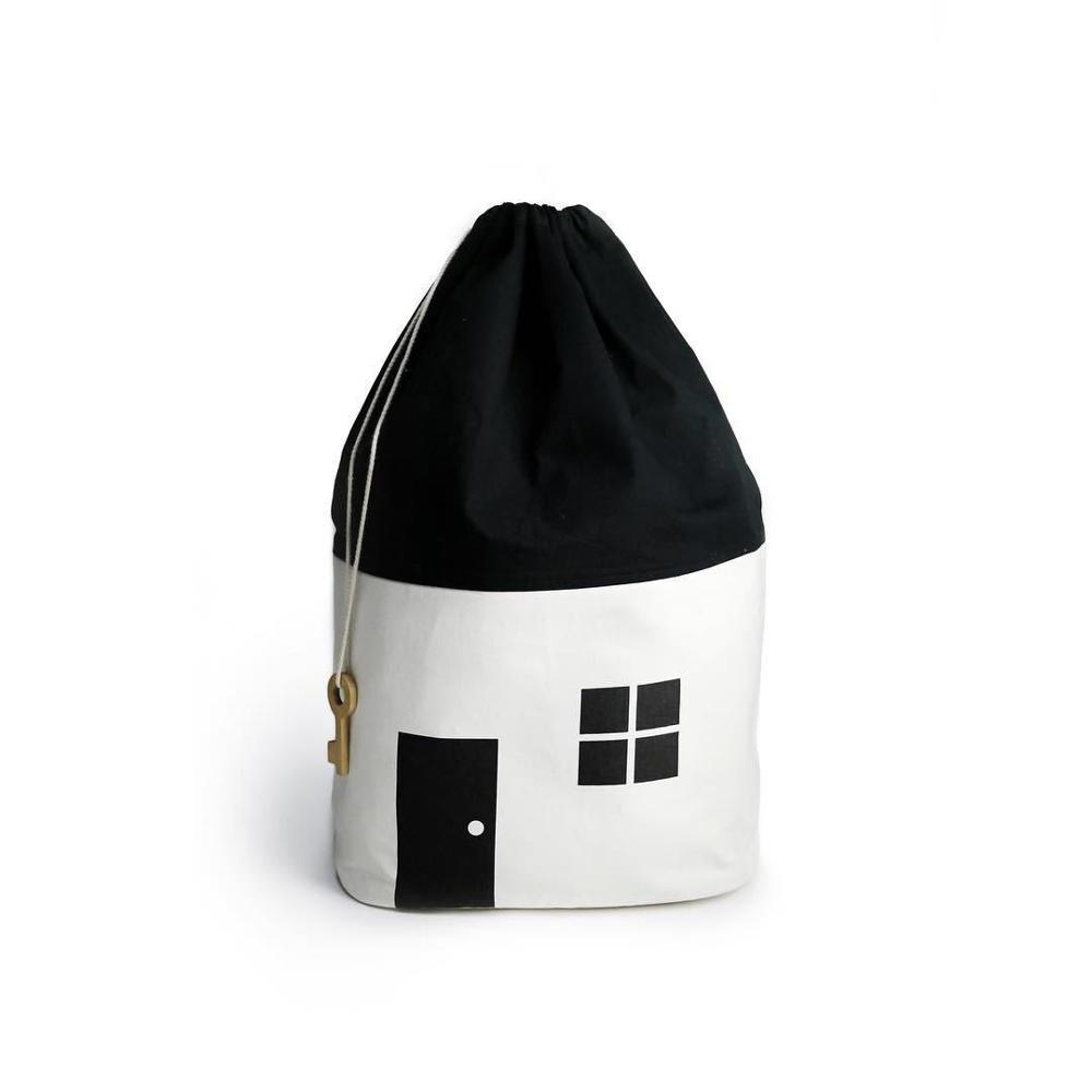 Large Capacity Cute House Storage Bag Children Kids Baby Pure Cotton Canvas Container Drawstring Bag