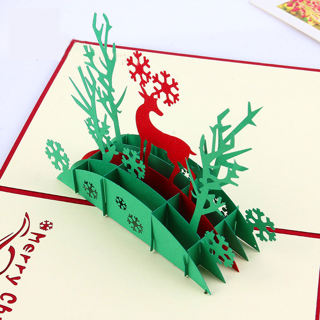3d Christmas Deer Postcards Laser Cut Pop Up Paper Handmade Custom