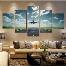 Vintage Home Decor Paintings On Canvas 5 Pieces Ground Take Off Airplane Framework Pictures Posters And Prints The Wall