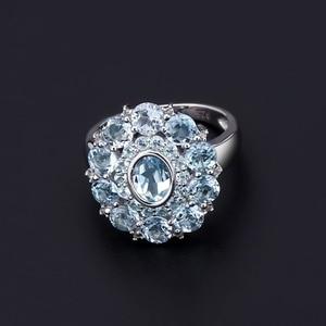 Image 3 - Gems Ballet Natural Sky Blue Topaz Gemstone Ring 925 Sterling Silver Vintage Flower Rings For Women Fine Jewelry