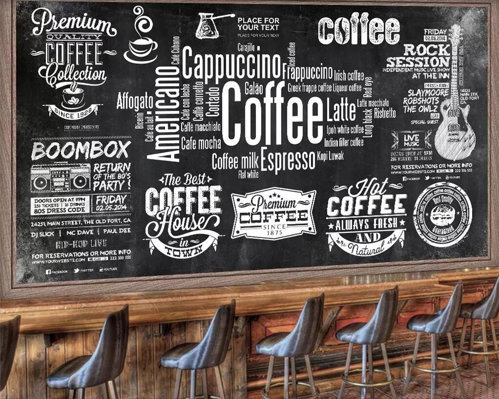 Beibehang Custom Wallpaper Blackboard Newspaper Cafe Retro Tooling Background Wall Restaurant Wine Bar Cafe Background Wallpaper