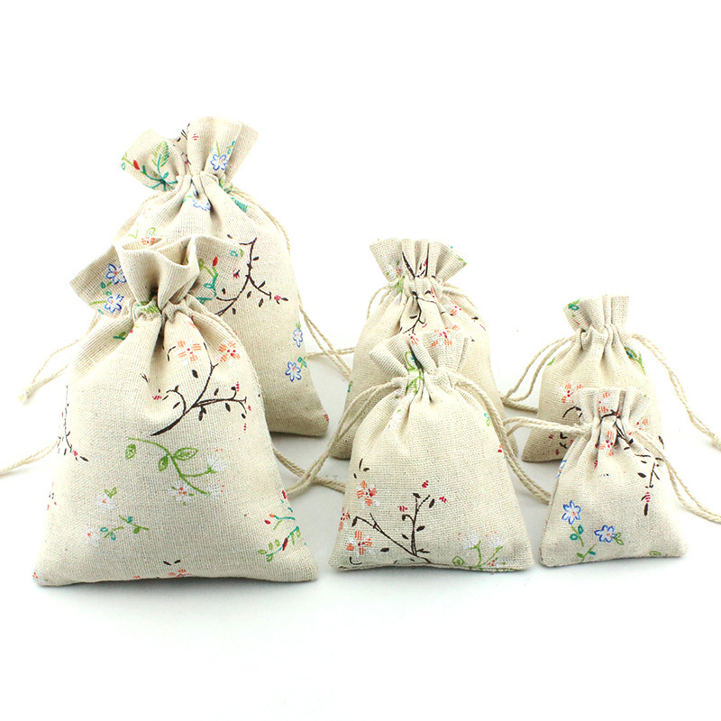 10pcs Cotton Sacks Jute Gift Bags Flower Branch Pattern Gift Candy Pouch Drawstring Bags For Jewelry Bag Storage Wedding Supply