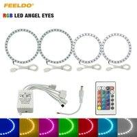 FEELDO 2X90mm 2X110mm Car RGB LED Angel Eyes Halo Ring Light Wireless Remote Control for Hyundai Elantra(04 06) Headlight #3209