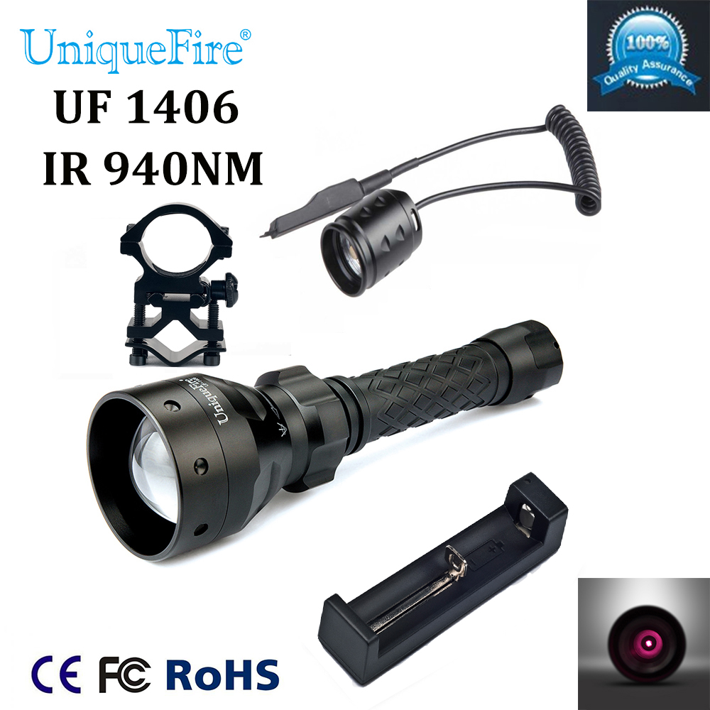 все цены на UniqueFire Hot Sale 1406 Zoomable LED Flashlight IR 940nm LED Flashlight+Charger+Scope Mount+Rat Tail For Night Hunting Camping онлайн