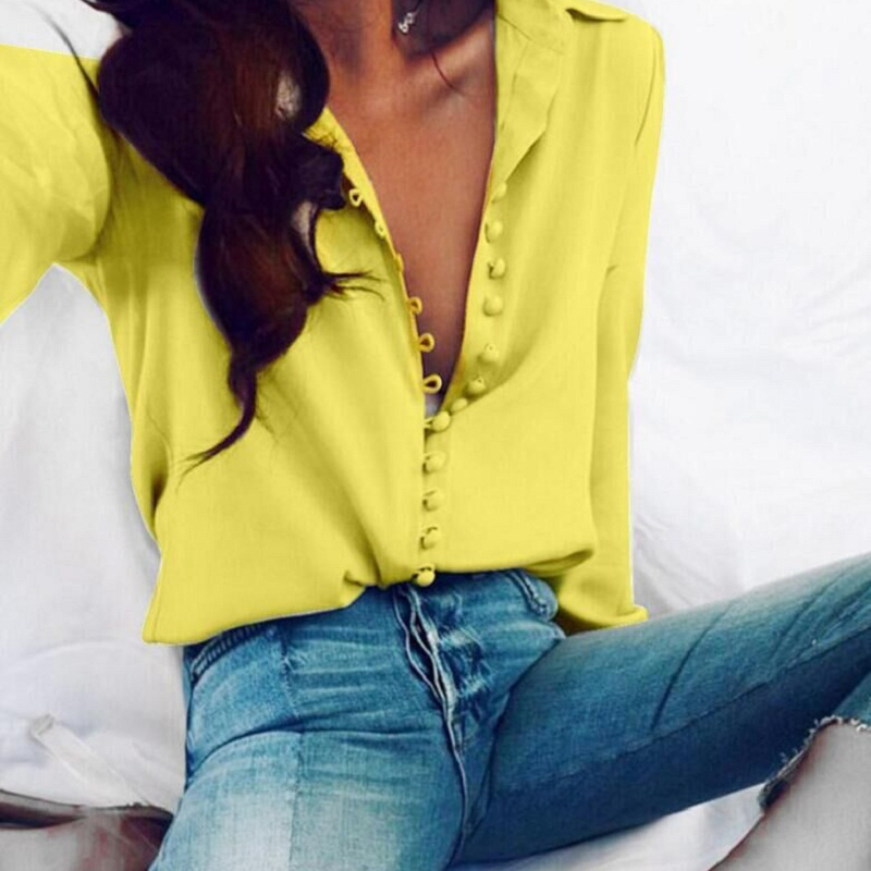 CROPKOP Fashion Casual Solid Color ladies office Tops Sexy Buttons Long sleeve Blouse 2019 new Spring Women Chiffon white Shirt 1