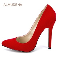 ALMUDENA Sexy Women Hot Red Suede High Heel Shoes Office Lady Pointed Toe Daily Dress Pumps