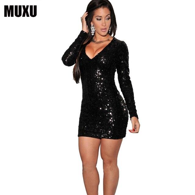Glitter Sexy Moda Feminina Long Sleeve Sequin Dress Plus Size Women