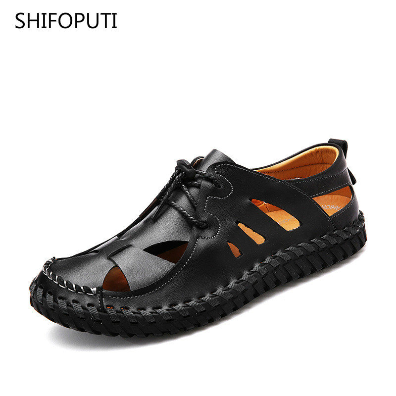 SHIFOPUTI 2018 Comfortable Male Sandals Summer Casual Shoes New Mens Beach Shoes Breathable Waterproof Outdoor Mens Lazy Shoes
