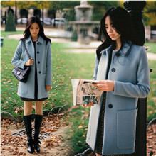 woman winter wool coats fashion 2015 Japan and Korean sweet style woolen coat jacket with large