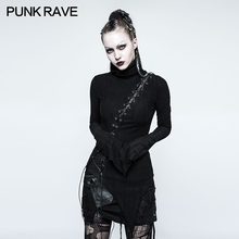 PUNK RAVE Womens Punk Rock Personality Pullovers Gothic Lolita Stand-up Collar Steampunk Sexy T-shirt