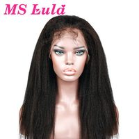 MS Lula Brazilian Kinky Straight Wig 150% Density Lace Front Wigs For Women Pre Plucked Baby Hair Remy Human Hair Free Shipping