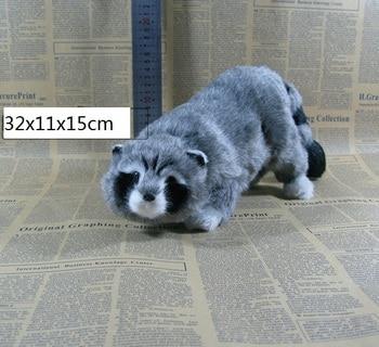 large 32x11x15cm simulation gray raccoon hard model plastic&furs raccoon prop,home decoration toy gift s2285