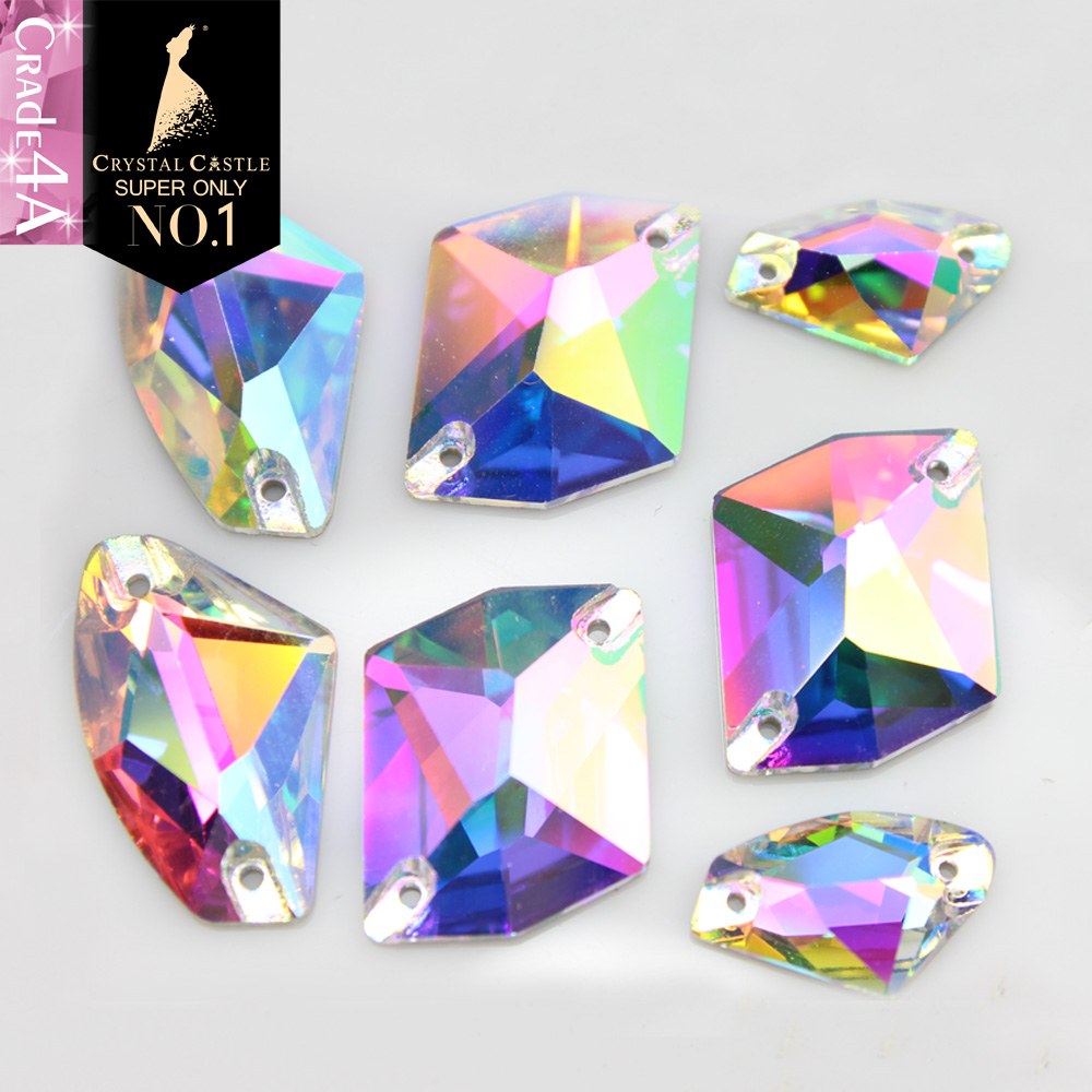 Crystal Castle AAAA Crystal Sewing Stones White   AB Glass Sew On Rhinestone  Galactic Cosmic Sew On Rhinestones For Clothing -in Rhinestones from Home  ... 72995dccf020