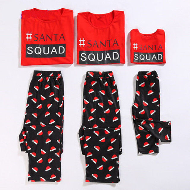 c82ba00c1 2018 Canis Family Matching Christmas SQUAD Pajamas Set Women Kids Sleepwear  Xmas Set Nightwear