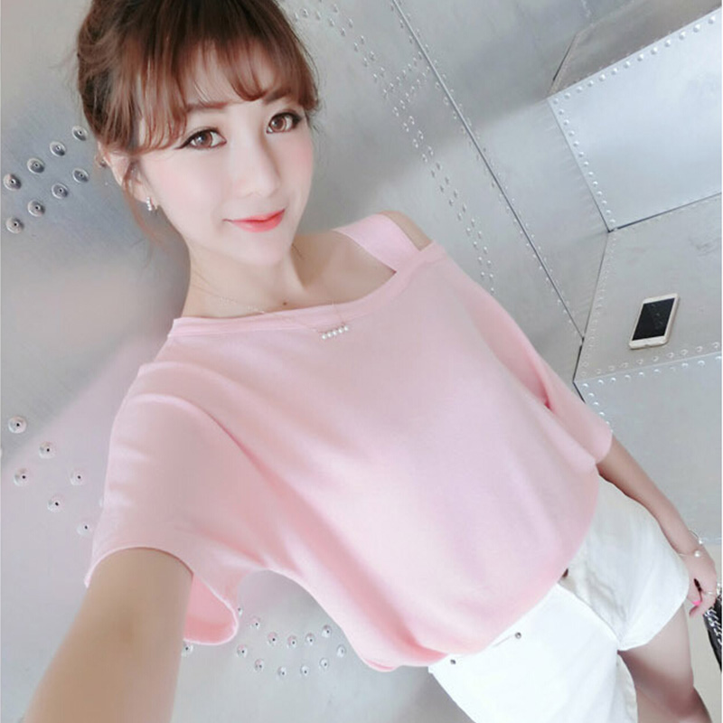Sexy Cold shoulder Pure color t-shirts Short sleeve Loose T-shirt Women streetwear 2018 summer tee shirt new fashion brand Tees