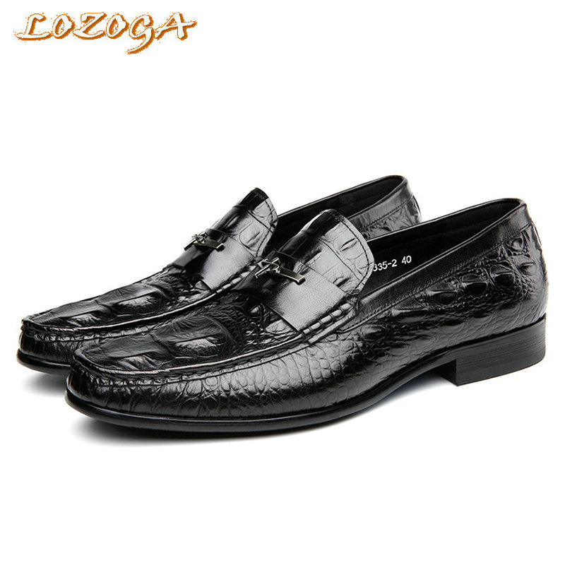 2017 New Mens Genuine Leather Shoes High Quality Casual Shoes Alligator Handmade Loafers Flats Size 37-44 Leisure Slip-on Shoes pl us size 38 47 handmade genuine leather mens shoes casual men loafers fashion breathable driving shoes slip on moccasins