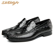 2017 New Mens Genuine Leather Shoes High Quality Casual Shoes Alligator Handmade Loafers Flats Size 37-44 Leisure Slip-on Shoes