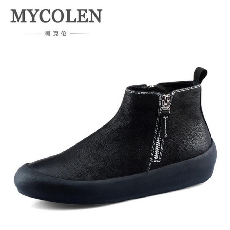 MYCOLEN Handmade Men Genuine Leather Winter Boots High Quality Brand Men Shoes Casual Ankle Boots For Men Botas Masculinas men winter super warm ankle boots handmade genuine leather high quality brand plush snow shoes casual russian style boots men