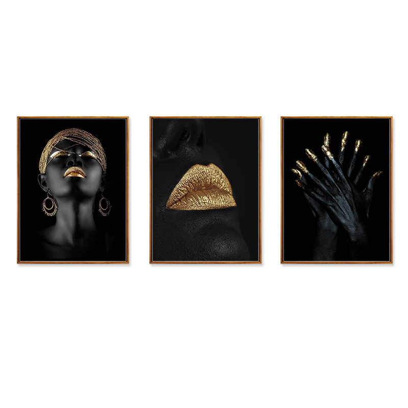 Canvas Painting Wall Art Pictures prints Gold Black woman on canvas no frame home decor Wall poster decoration for living room