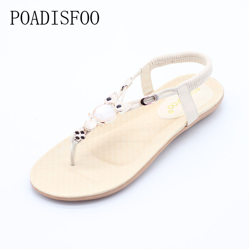 POADISFOO Women Fashion casual Beaded Flops Summer Bohemian design vintage flat-toed sandals with Rubber sole Beach .HYKL-199 2018 summer new fashion bohemian beaded women sandal casual comfortable flat women shoes fast delivery