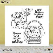 AZSG Flowers fox Clear Stamps For DIY Scrapbooking/Card Making/Album Decorative Silicon Stamp Crafts