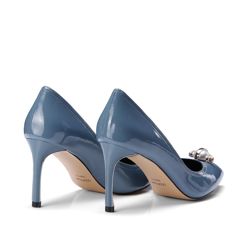 Profonde De Simples Stylesowner Haute Perle Office Femme Pompes brown Mariage Chaussures Blue Sexy Partie En Avec Bout Véritable Cuir Lady Peu Qualité Pointu FFTn5rqwR