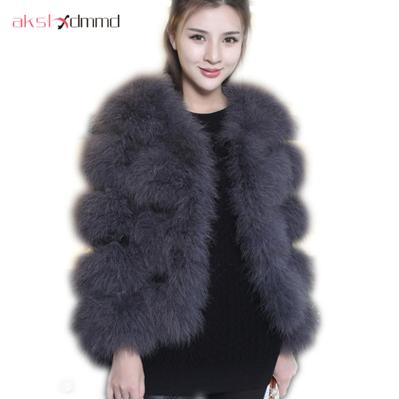 Fur Coat 2016 New Fashion Winter Authentic Ostrich Fur Coat Female Long sleeved Real Fur Short