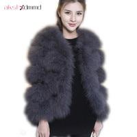 Fur Coat 2016 New Fashion Winter Authentic Ostrich Fur Coat Female Long sleeved Real Fur Short Jacket Coat Women Spring LH489