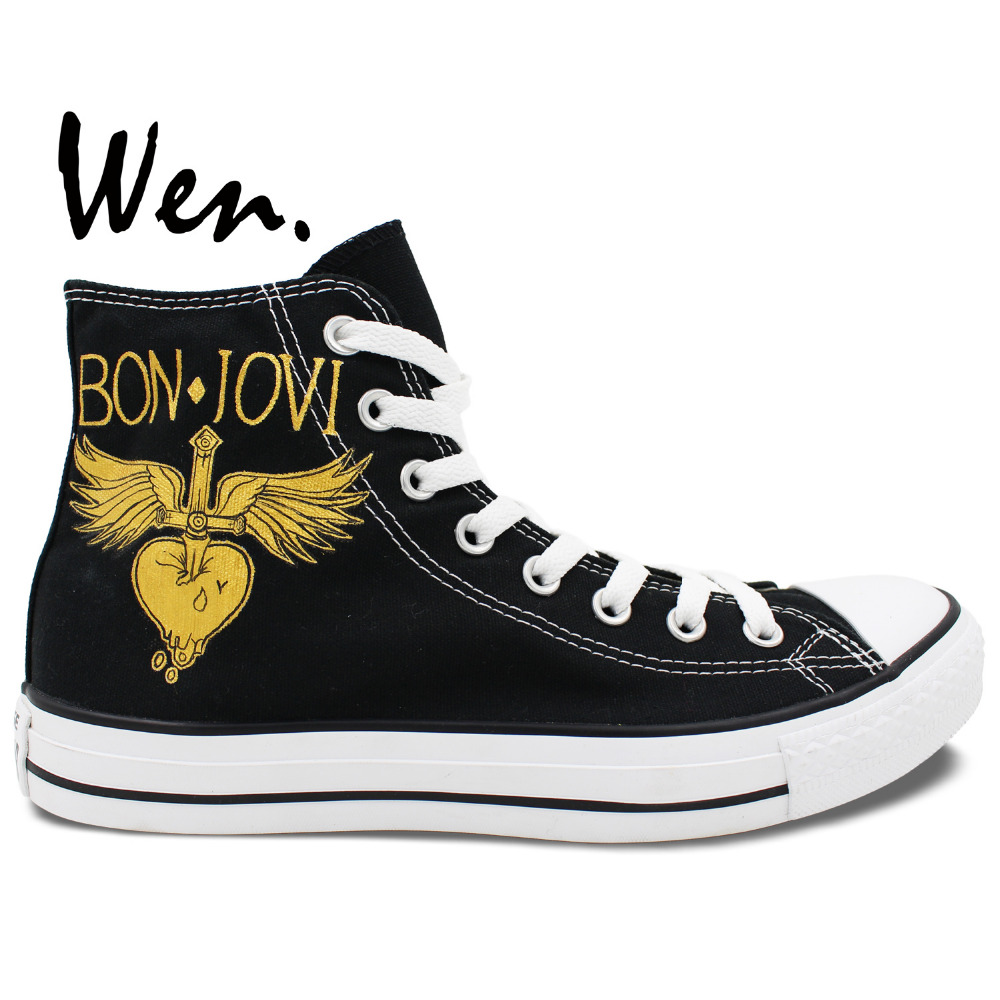 Wen Customized Black Hand Painted Canvas Athletic Shoes Wing Logo BON JOVI High Top Man Woman's Outdoor Sports Sneakers wen original hand painted canvas shoes space galaxy tardis doctor who man woman s high top canvas sneakers girls boys gifts