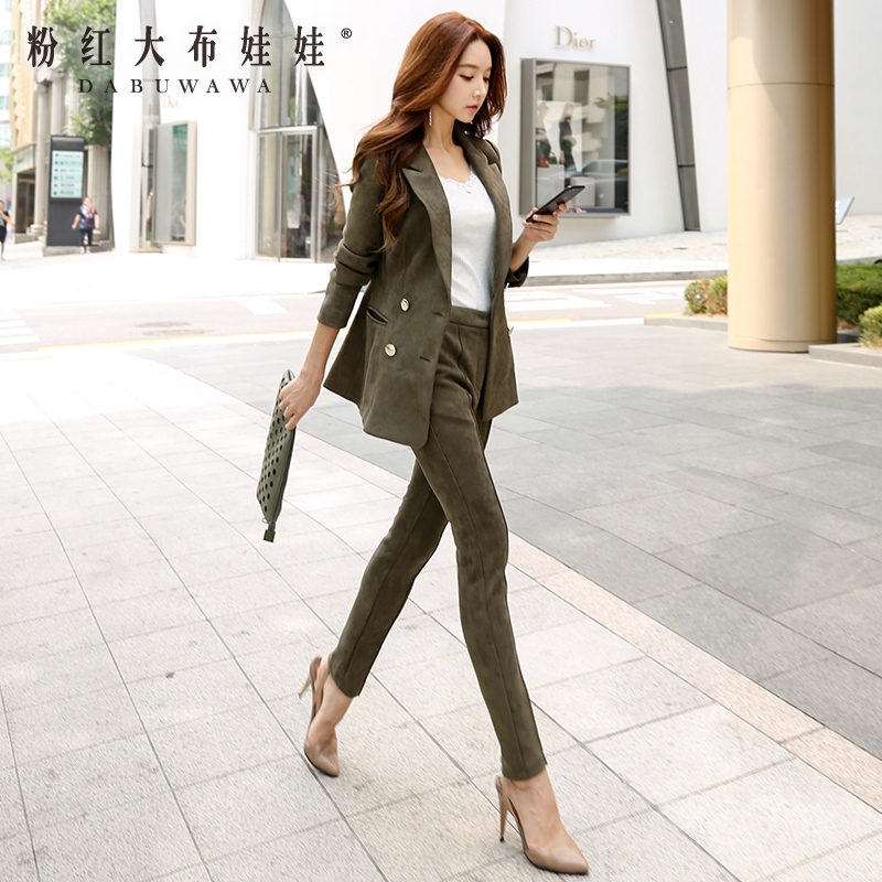 original two pieces sets women 2017 new autumn army green fashion korean elegant casual suit 2 pieces pants and blazer women