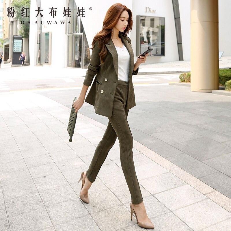 original two pieces sets women 2017 new autumn army green fashion korean elegant casual suit 2 pieces pants and blazer women