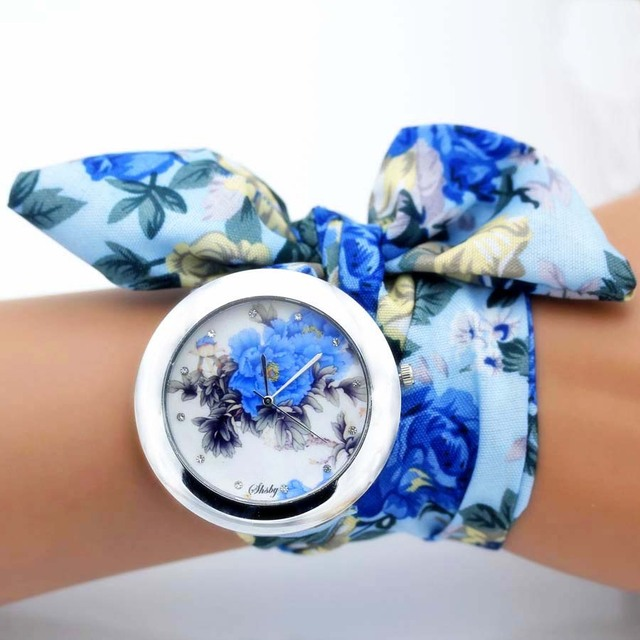 shsby new unique Ladies flower cloth wristwatch fashion women dress watch high quality fabric watch sweet girls Bracelet watch 1