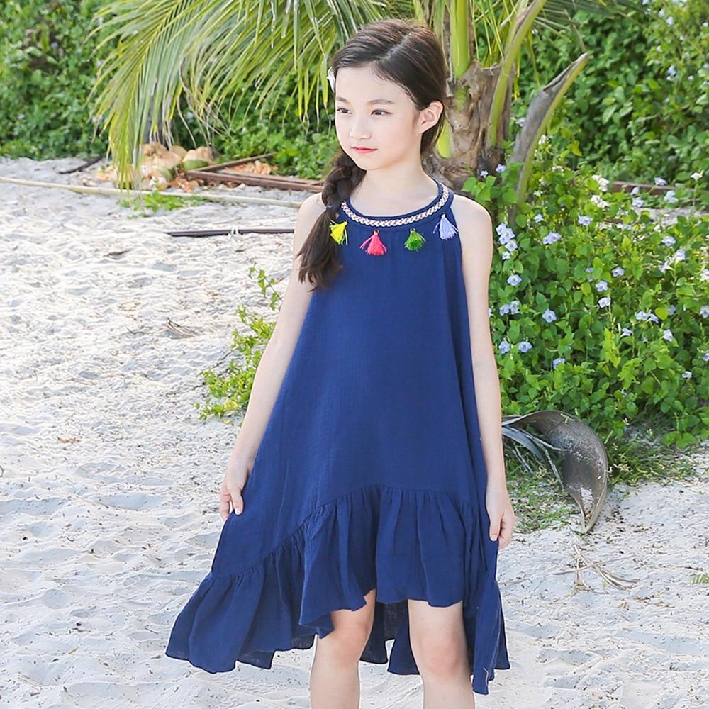 Kids Girls Clothes Striped Long Maxi Dress Holiday Summer Beach Casual Sundress
