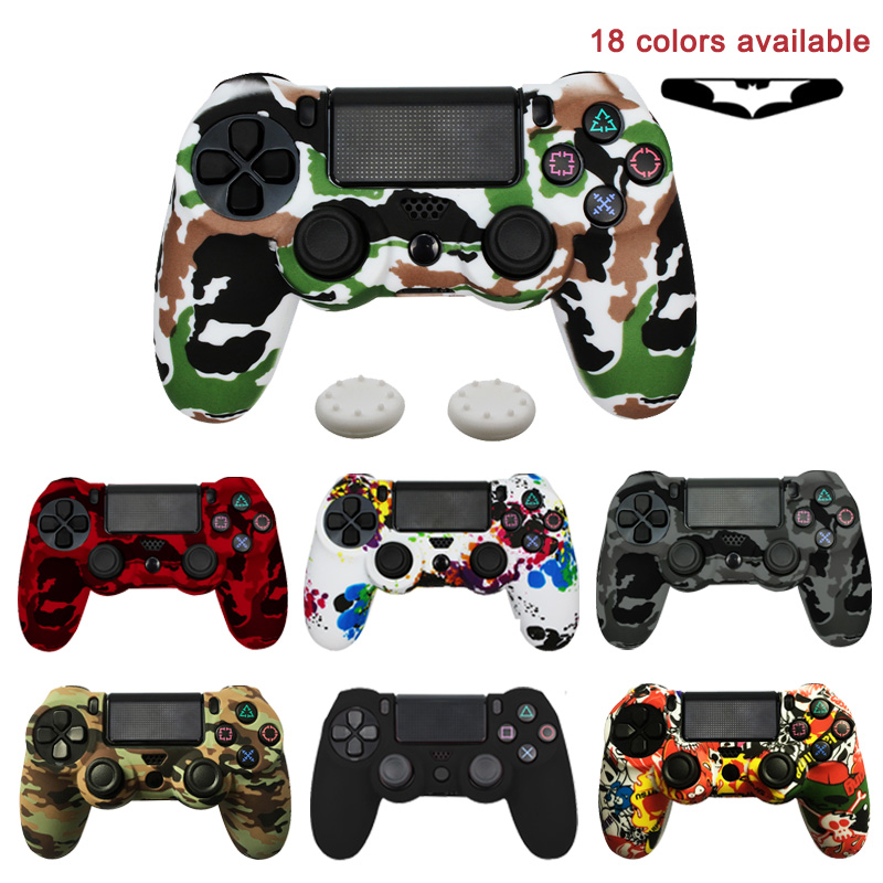For PS4 Controller Gamepad Camo Silicone Rubber Skin Case Protective Cover For Playstation 4 Joystick With Led Light Bar