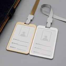1 шт., алюминиевый сплав, рабочие визитницы, визитница, визитная карточка, ID значок, ремешок-держатель, хит, вертикальный металлический, ID, дел...