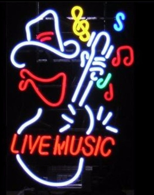 Live Music Guitar Glass Neon Light Sign Beer Bar