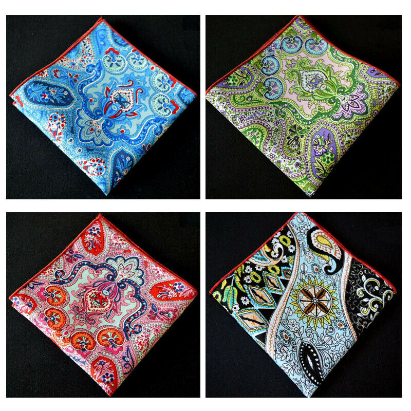 Men Modish Multi Color Cotton Paisley Floral Hanky Rolled Edge Pocket Square Hot YXTIE0092