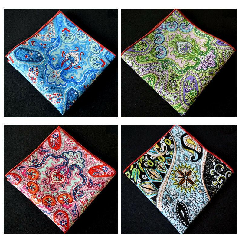 Men Modish Multi Color Cotton Paisley Floral Hanky Rolled Edge Pocket Square Hot YXTIE0092