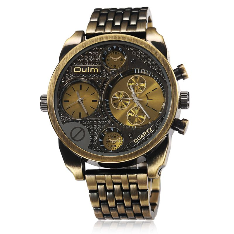 Oulm Luxury Brand Men Full Steel Watch Golden Big Size Antique Male Casual Watches Military Wristwatch