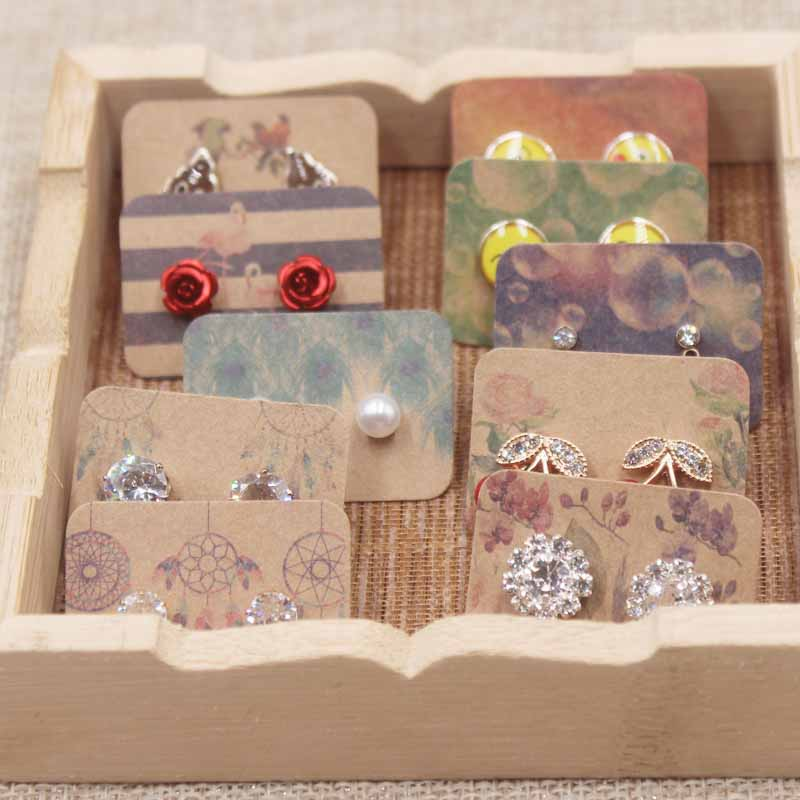 100pcs Cute New Arrived Earring Card Display Jewelry Custom Personal Style Catch Dream Design Colorful Plant Cardboard 3.5x2.5cm