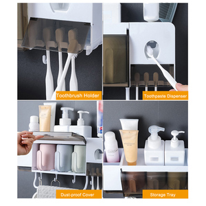 Image 2 - Wall mounted Toothbrush Holder Automatic Toothpaste Dispenser Bathroom Storage Rack Makeup Organizer Towel Holder With Cups